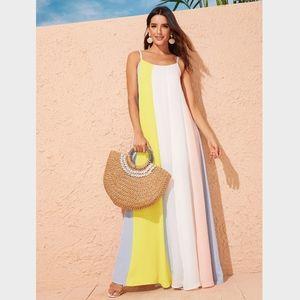 Multi Color Block A-line Maxi Cami Dress